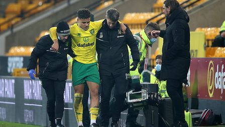Norwich Head Coach Daniel Farke looks concerned as Max Aarons of Norwich City injured Championship draw Coventry City