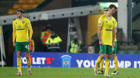 The Norwich City players look dejected at the end of the Championship draw against Coventry City
