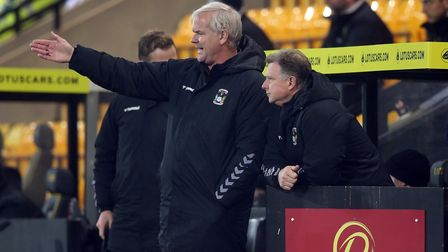 Coventry City Manager Mark Robins and Coventry City Assistant Manager Adi Viveash during the Sky Bet