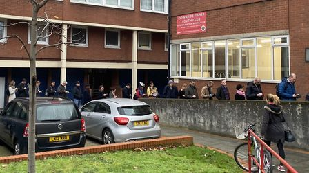 A queue outside a polling station in Bermondsey, London, as voters line up to cast their votes in th