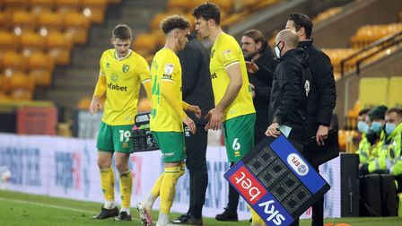 Josh Martin of Norwich is replaced by Christoph Zimmermann of Norwich during the Sky Bet Championshi
