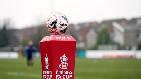 The match ball on a plinth during the Emirates FA Cup second round match at Rossett Park, Crosby.