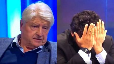 Stanley Johnson on Channel 4 appearing alongside comedian Nish Kumar. Photograph: Channel 4.