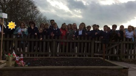 Ashcombe pupils taking part in the sponsored walk