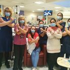 Siobhan McKeon - pictured with staff at Queen's Hospital in Romford whilst undergoing chemotherapy -