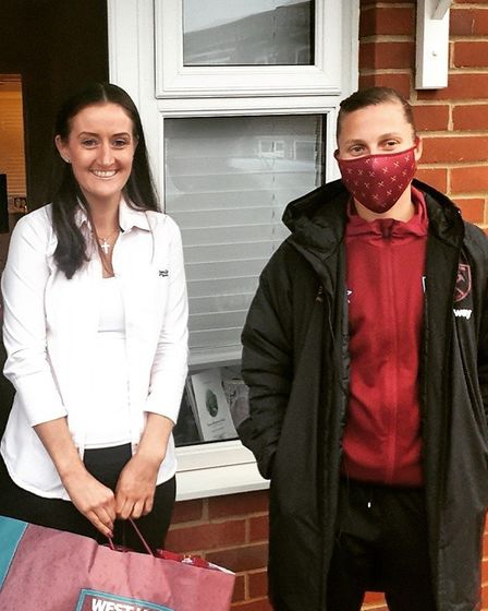 West Ham ladies captain Gilly Flaherty surprised Siobhan by coming to her house to deliver signed sh