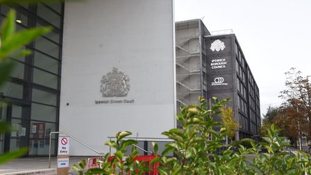 External view of Ipswich Crown Court with trees