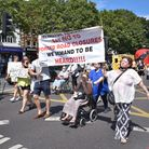 Islington People Friendly Streets protesters leave the Town Hall forecourt and march along Upper Street to Angel on...