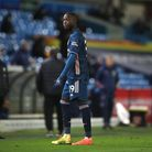 Arsenal's Nicolas Pepe walks off after being shown a red card for violent conduct during the Premier League match at...