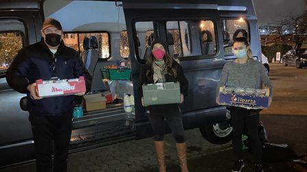 Ronnie Renney, Alice Sinclair, and Jenny Woodberry as they deliver hot meals to those in need in Maida Vale. Picture...
