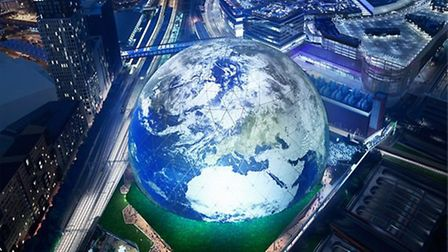 A computer-generated image of the proposed MSG Sphere. Picture: MSG