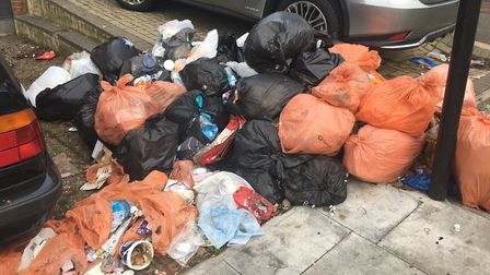 A mound of rubbish in Frognal. Picture: Hampstead Village Voice