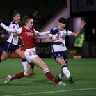 Arsenal's Vivianne Miedema (centre) scores her side's first goal of the game during the Continental Cup match at Meadow...