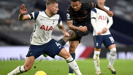 Tottenham Hotspur's Toby Alderweireld (left) blocks off Manchester City's Gabriel Jesus during the Premier League match at...
