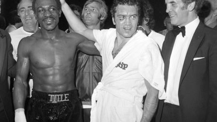 Britain's Maurice Hope celebrates after defeating Rocky Mattioli