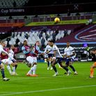 West Ham United's Jarrod Bowen (centre) scores his side's second goal of the game during the Premier League match at the...