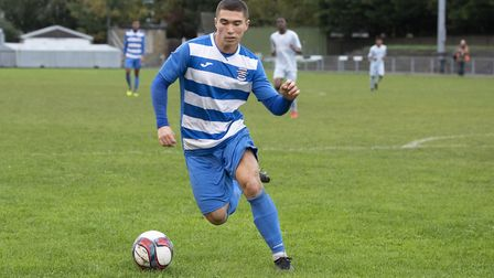 Dmitri Christov in action for Ilford during Ilford vs Woodford Town, Essex Senior League Football at Cricklefields Stadium on...