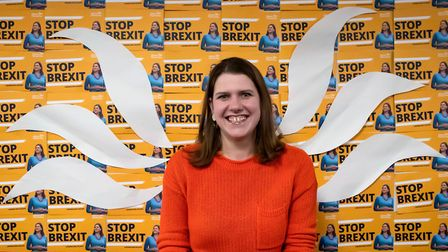 Liberal Democrat leader Jo Swinson poses in front of the wings taken from her party's logo during a