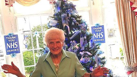 Wanstead woman Peggy O'Riordan, 89, has decorated her Christmas with face masks to pay tribute to the NHS. Picture: Katherine...