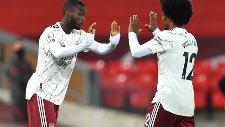 Arsenal's Nicolas Pepe (left) netted in Norway