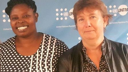 Activist Rhobi Samwelly and Hackney resident Janet Chapman at the United Nations. Picture: Tanzania Development Trust