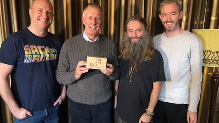 Dan Cole and the Wayback VR cofounders with Sir Geoff Hurst. Picture: The Wayback VR