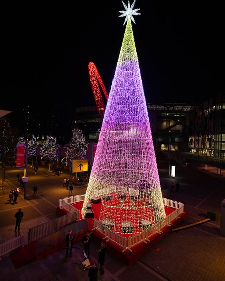 'Aurora Arbour' Christmas tree is switched on at the Royal Triangle in Wembley Park to launch ?United in Light' festival.