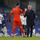 Tottenham Hotspur manager Jose Mourinho (right) speaks to goalkeeper Hugo Lloris at the end of the Premier League match at...