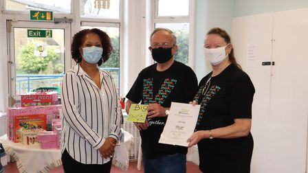 L-R: Laura Griffiths, Barnardo's Service Administrator with Bob and Rosemarie Hardy from VivaMK. Picture: Barnardo's