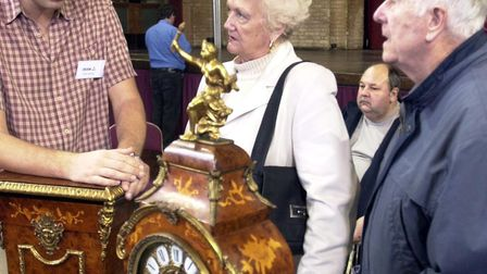 George and Rene Coleman travelled all the way to Ipswich from Kent with this reproduction Louise XV1 clock . Picture...