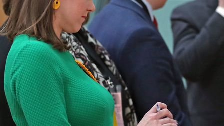 Jo Swinson checks her speech before the declaration that she had lost her East Dumbartonshire seat i