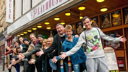 Jack and the Beanstalk Panto cast outside the Playhouse in 2013.