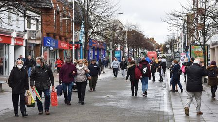 Shoppers on London Road North in Lowestoft ahead of the second national lockdown. Picture: Mick Howes