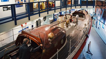 Henry Blogg Museum at Cromer looking down on to the Lifeboat boat. inside the museum.