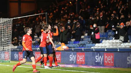 Luton Town's James Collins (right) celebrates scoring his side's third goal of the game during the S