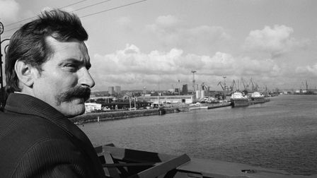 Leader of Polish trade union Solidarnosc (Solidarity) Lech Walesa at the Gdansk docks.