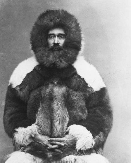 North Pole explorer Robert E. Peary in a fur parka.