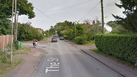 The Street, Brundall, where a man was knocked off his bike