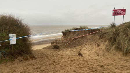 Police tape at the beach entrance in Winterton