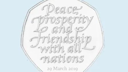 The original design for the special 50p coin marking Brexit. Photograph: HM Treasury/Twitter.