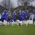 Lowestoft Town FC players celebrating the first goal of the match during their last gameversus Lewes FC.