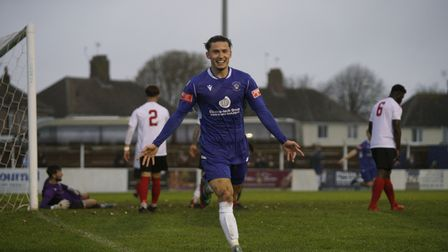 Connor Parsons celebrates his first goal for Lowestoft Town after making it Lowestoft 2, Lewes FC 0 in The Blues last match