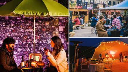 There has been huge demand for outdoor bars in Norwich, including Botanical Garden Bar (left), Junkyard Market (top right)...
