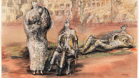 Figures against a background of bombed buildings. Moore, Henry Spencer (British, 1898-1986). Pen and