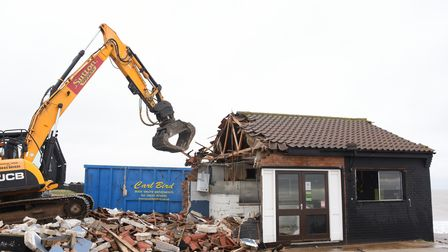 The Dunes Cafe in Winterton being demolished. Picture: Danielle Booden