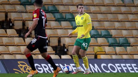 Reece McAlear of Norwich and Ryan Giles of Coventry City in action during the Sky Bet Championship m