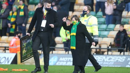 Norwich City's Joint Majority Shareholder Delia Smith presents Marco Stiepermann of Norwich with an
