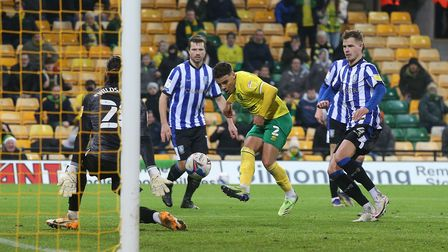 Max Aarons of Norwich scores his sides 2nd goal during the Sky Bet Championship match at Carrow Road