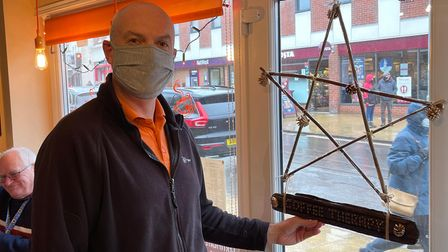 Richard Groom from Coffee Therapy in Cromer's Church Street with his Star of Hope.