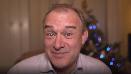 Ed Davey delivers his Christmas message. Photograph: PA/Lib Dems.